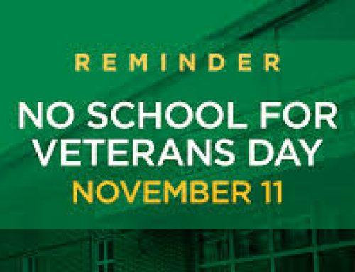 No School Nov 11th Veterans Day