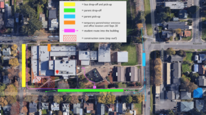 Entry adjustments and traffic flow map